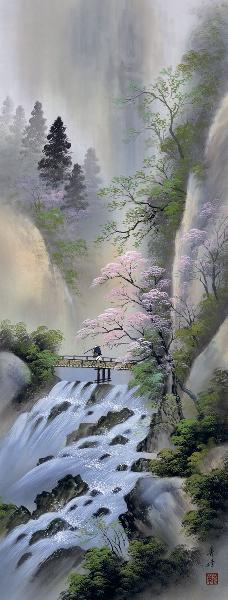 掛け軸 桜花爛漫 小林秀峰 拡大
