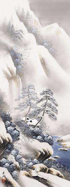 掛け軸 雪景幽谷 小林秀峰 拡大