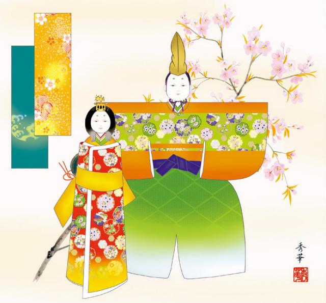 掛け軸 立雛 野川秀華 金襴小紋正絹 尺八横 拡大
