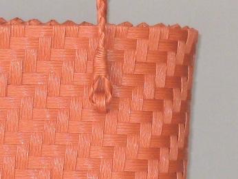 エコクラフト レンガ色網代編みバッグ3